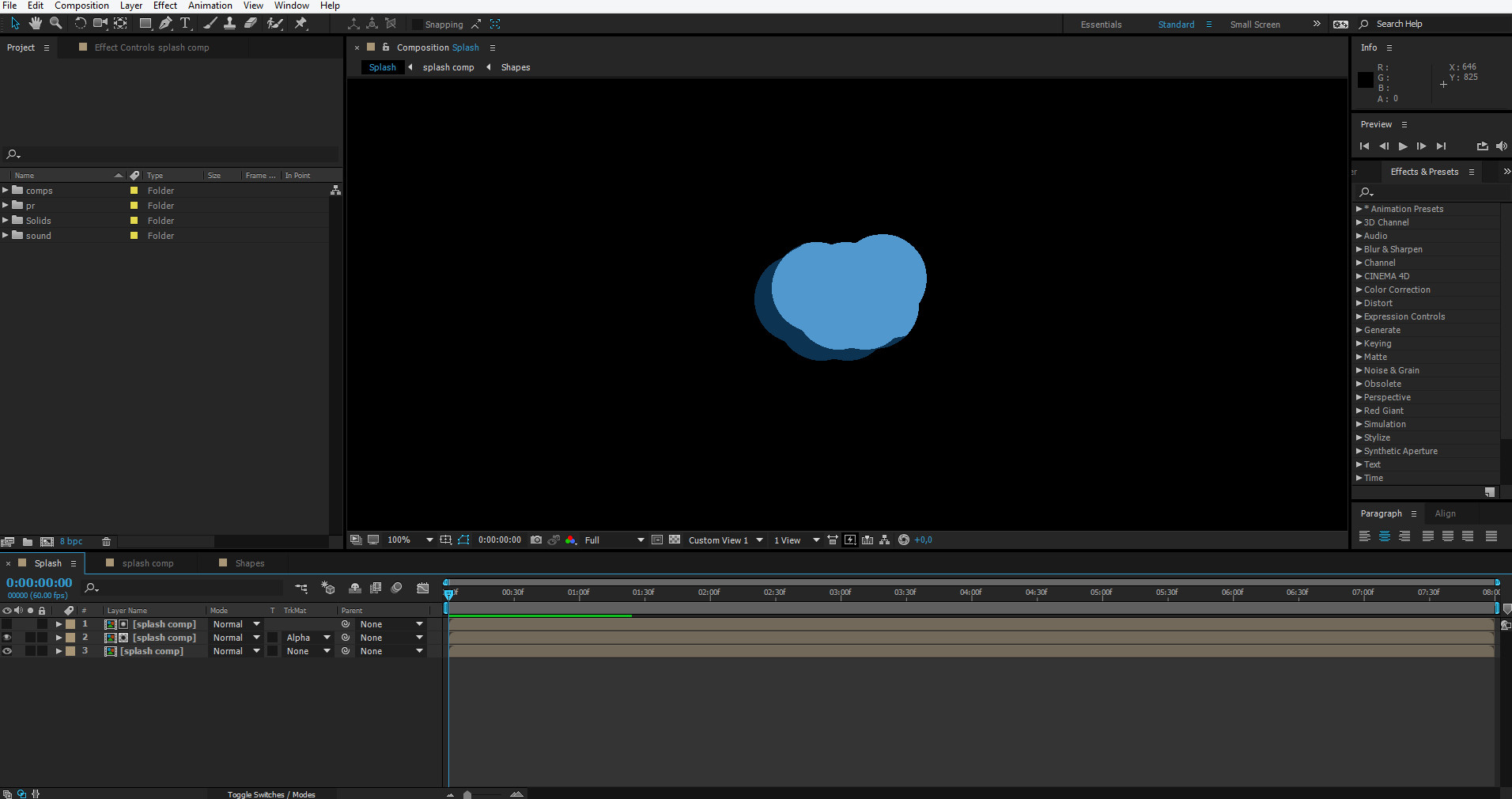 splash after effects tutorial